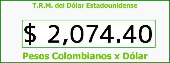 T.R.M. del Dólar para hoy Viernes 17 de Octubre de 2014