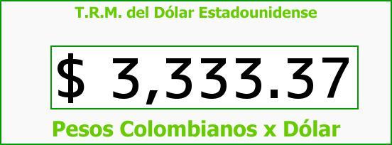 T.R.M. del Dólar para hoy Viernes 18 de Diciembre de 2015