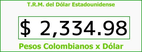 T.R.M. del Dólar para hoy Viernes 19 de Diciembre de 2014