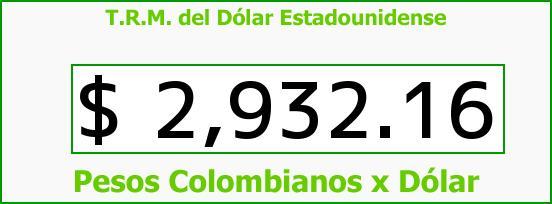 T.R.M. del Dólar para hoy Viernes 19 de Mayo de 2017