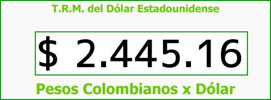 T.R.M. del Dólar para hoy Viernes 20 de Febrero de 2015