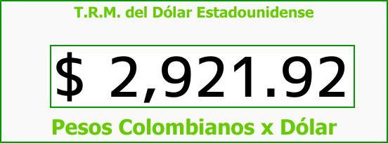 T.R.M. del Dólar para hoy Viernes 20 de Octubre de 2017