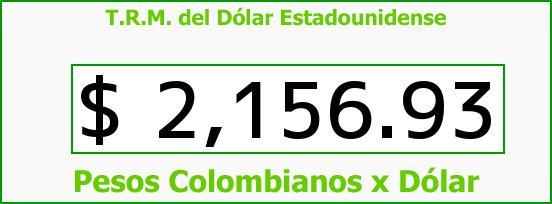 T.R.M. del Dólar para hoy Viernes 21 de Noviembre de 2014