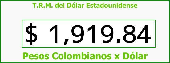T.R.M. del Dólar para hoy Viernes 22 de Agosto de 2014