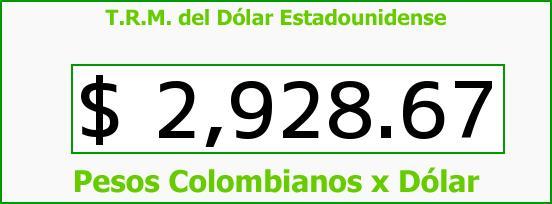 T.R.M. del Dólar para hoy Viernes 22 de Julio de 2016