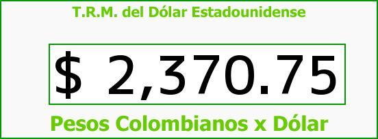T.R.M. del Dólar para hoy Viernes 23 de Enero de 2015
