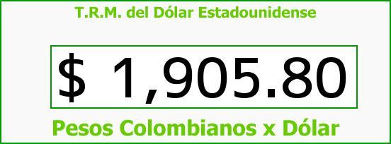 T.R.M. del Dólar para hoy Viernes 23 de Mayo de 2014