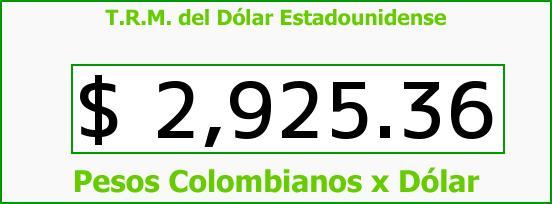 T.R.M. del Dólar para hoy Viernes 23 de Octubre de 2015