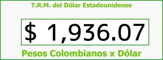 T.R.M. del Dólar para hoy Viernes 25 de Abril de 2014