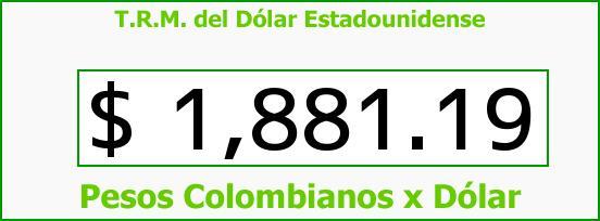 T.R.M. del Dólar para hoy Viernes 27 de Junio de 2014