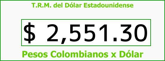T.R.M. del Dólar para hoy Viernes 27 de Marzo de 2015