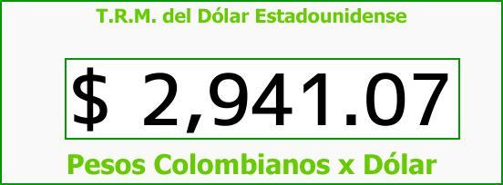 T.R.M. del Dólar para hoy Viernes 29 de Septiembre de 2017