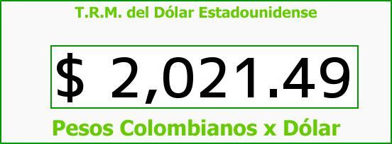T.R.M. del Dólar para hoy Viernes 3 de Octubre de 2014