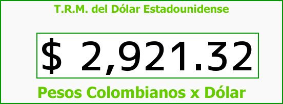 T.R.M. del Dólar para hoy Viernes 30 de Octubre de 2015