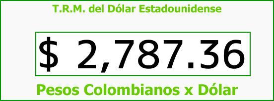 T.R.M. del Dólar para hoy Viernes 6 de Abril de 2018