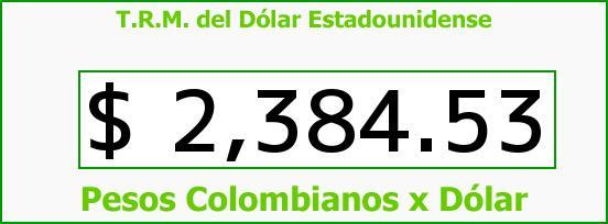 T.R.M. del Dólar para hoy Viernes 6 de Febrero de 2015