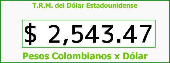 T.R.M. del Dólar para hoy Viernes 6 de Marzo de 2015
