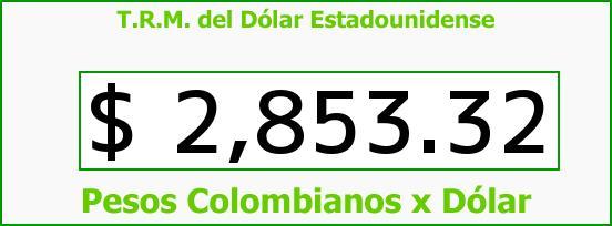 T.R.M. del Dólar para hoy Viernes 6 de Noviembre de 2015