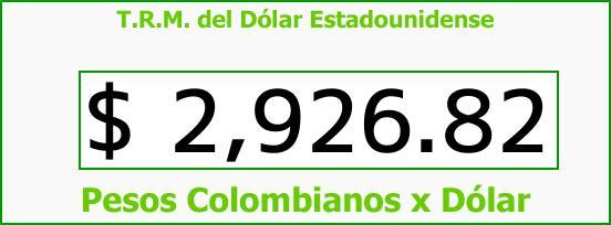 T.R.M. del Dólar para hoy Viernes 6 de Octubre de 2017