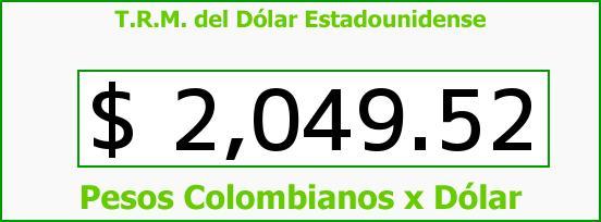 T.R.M. del Dólar para hoy Viernes 7 de Febrero de 2014