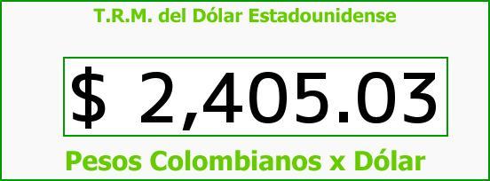 T.R.M. del Dólar para hoy Viernes 9 de Enero de 2015