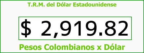 T.R.M. del Dólar para hoy Viernes 9 de Junio de 2017