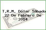 T.R.M. Dólar Sábado 22 De Febrero De 2014