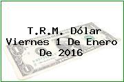 T.R.M. Dólar Viernes 1 De Enero De 2016