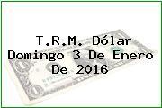 T.R.M. Dólar Domingo 3 De Enero De 2016
