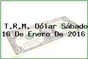 T.R.M. Dólar Sábado 16 De Enero De 2016