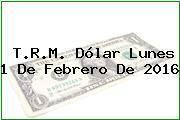 T.R.M. Dólar Lunes 1 De Febrero De 2016