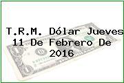 T.R.M. Dólar Jueves 11 De Febrero De 2016