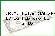T.R.M. Dólar Sábado 13 De Febrero De 2016