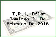 T.R.M. Dólar Domingo 21 De Febrero De 2016