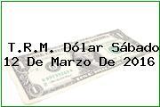 T.R.M. Dólar Sábado 12 De Marzo De 2016