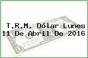 T.R.M. Dólar Lunes 11 De Abril De 2016