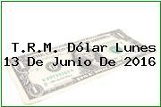 T.R.M. Dólar Lunes 13 De Junio De 2016