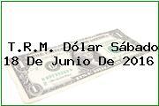 T.R.M. Dólar Sábado 18 De Junio De 2016