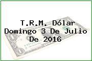 T.R.M. Dólar Domingo 3 De Julio De 2016