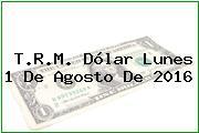 T.R.M. Dólar Lunes 1 De Agosto De 2016
