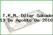 T.R.M. Dólar Sábado 13 De Agosto De 2016