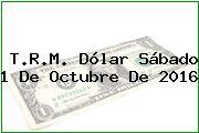 T.R.M. Dólar Sábado 1 De Octubre De 2016