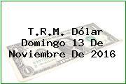 T.R.M. Dólar Domingo 13 De Noviembre De 2016
