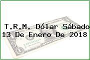 T.R.M. Dólar Sábado 13 De Enero De 2018