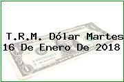 T.R.M. Dólar Martes 16 De Enero De 2018
