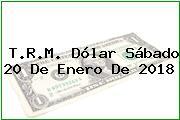 T.R.M. Dólar Sábado 20 De Enero De 2018