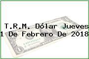 T.R.M. Dólar Jueves 1 De Febrero De 2018