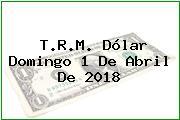 T.R.M. Dólar Domingo 1 De Abril De 2018