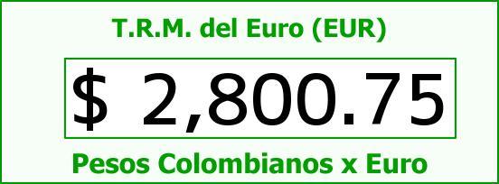 T.R.M. del Euro para hoy Domingo 1 de Marzo de 2015