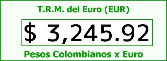 T.R.M. del Euro para hoy Domingo 17 de Julio de 2016